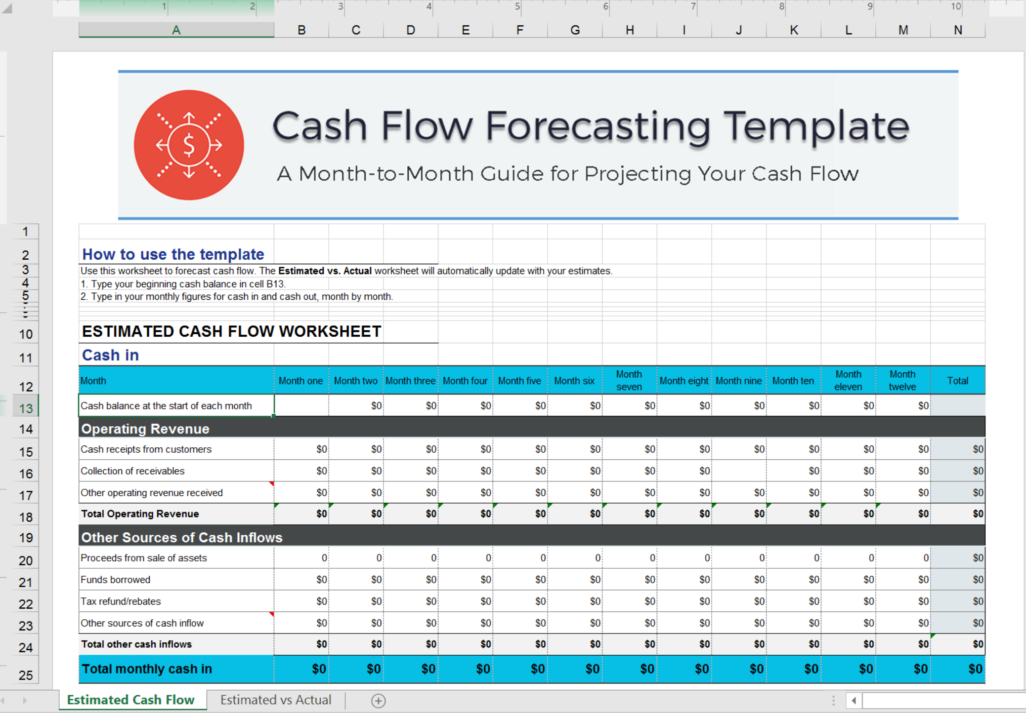 cash forecasting template