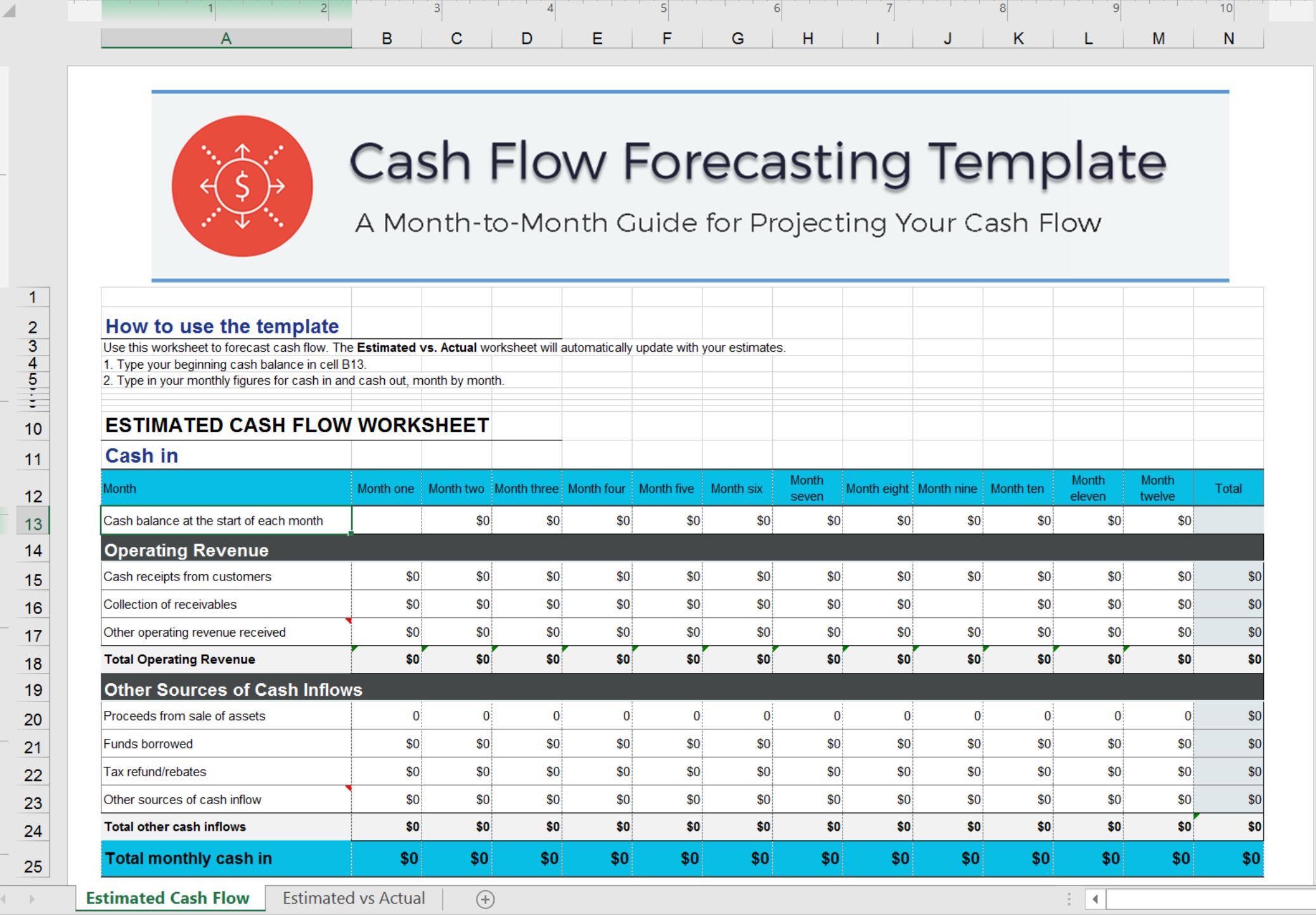 cash flow excel template forecast your cash flow. Black Bedroom Furniture Sets. Home Design Ideas