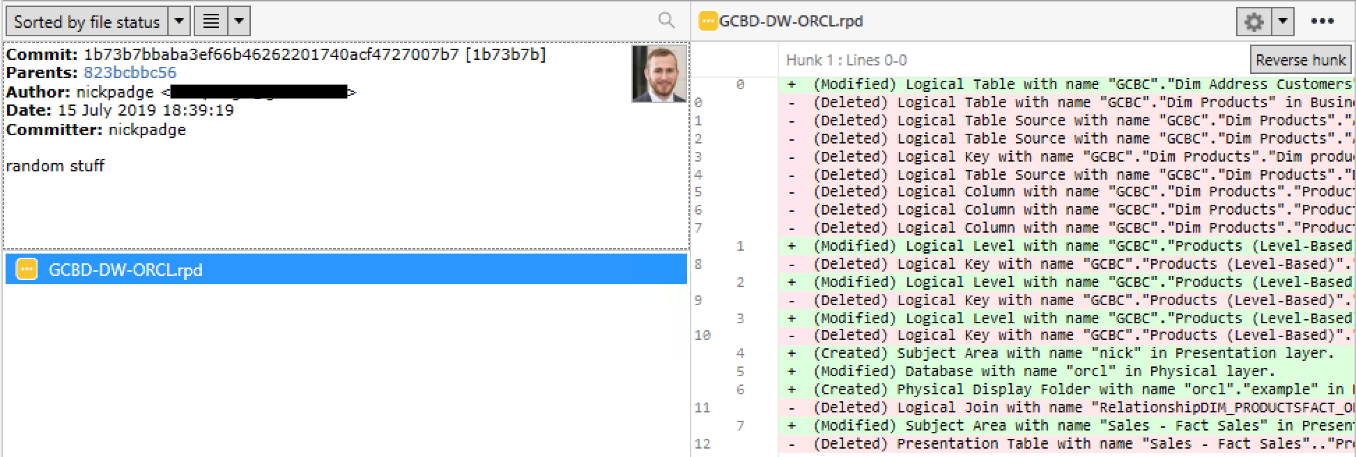 obiee comparing rpd files with git_5