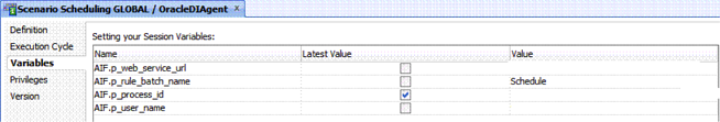 Variables option