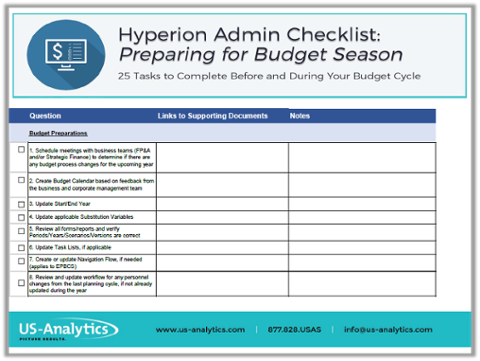 hyperion administrator prepare for budget cycle checklist - Hyperion Administrator